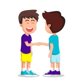 Glücklicher junge schüttelt seinem freund die hand