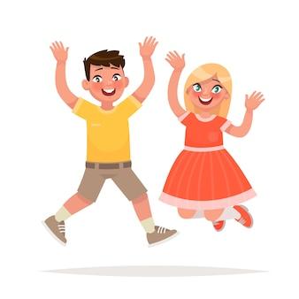 Glücklicher junge und mädchen springen. freudiges ereignis. in einem cartoon-stil