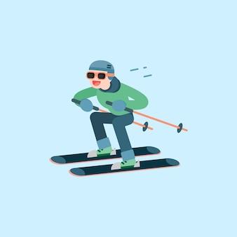 Glücklicher junger mann beim skifahren