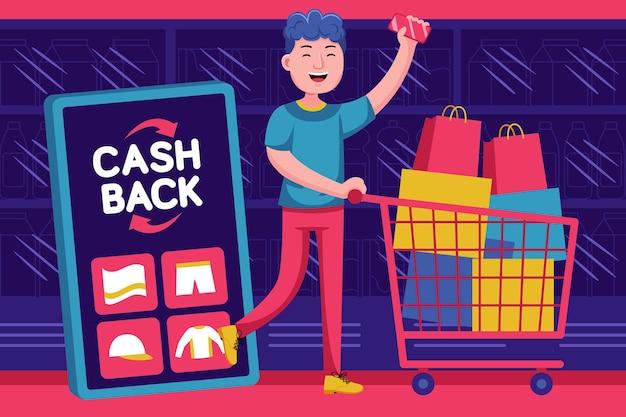 Glücklicher junger mann erhalten geld-zurück-förderung im supermarkt
