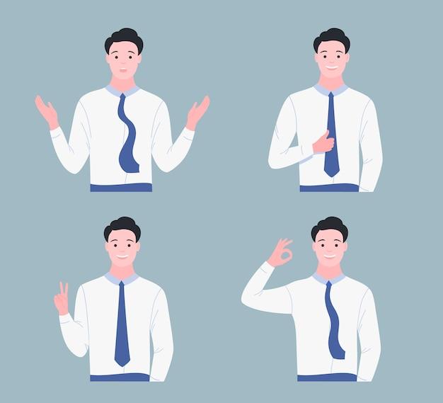 Glücklicher junger mann zeigt gestikulierte gesten. geste wie, cool, okey, oops, sieg. flacher cartoon-stil.