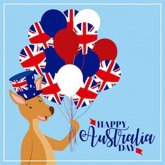 Glücklicher känguru mit australien-flaggenballonen