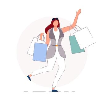 Glücklicher käufer. zeichentrickfigur der glücklichen käuferfrau-person, die einkaufstaschen geht und trägt. einzelhandelsgeschäft verkauf und konsumkonzept
