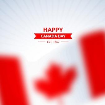 Glücklicher kanada-tag hintergrund mit verschwommenen flagge