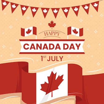 Glücklicher kanada-tag mit flagge und girlande