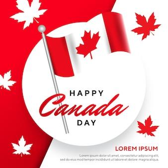 Glücklicher kanada-tag mit flaggenland