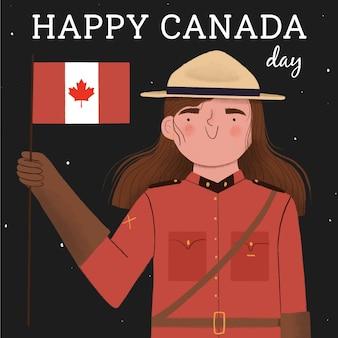 Glücklicher kanada-tag mit frau und flagge