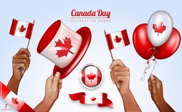 Glücklicher kanada-tag sieben overlays mit den händen, die kanadische flaggen wellenartig bewegen