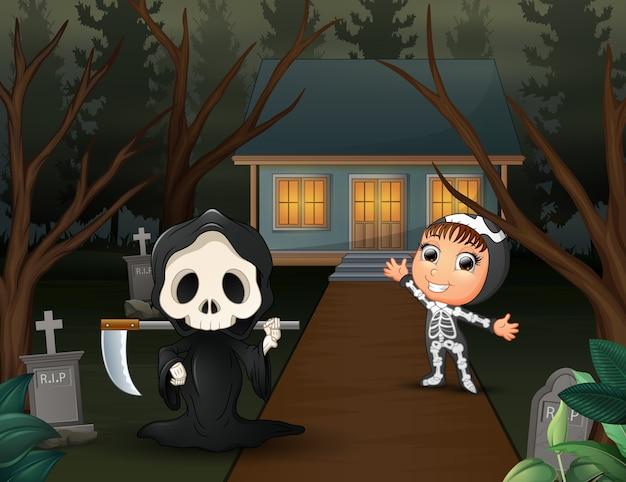 Glücklicher karikatur des sensenmanns und des skeletts auf der homepage