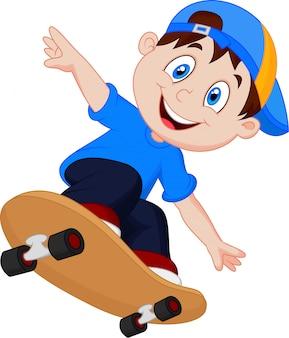 Glücklicher karikatur-skateboard-junge