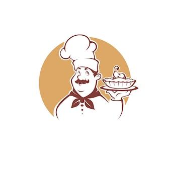 Glücklicher karikaturkoch, der eine süße birnenpastete hält, für ihr bäckereilogo, emblem, etikett, zeichen