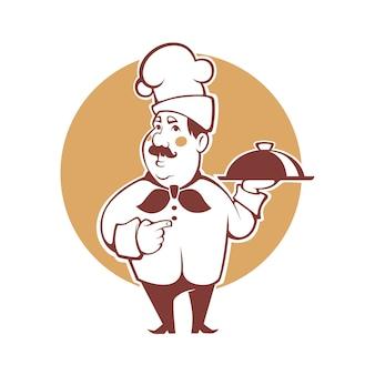 Glücklicher karikaturkoch, illustration für ihr logo, emblem, etikett, zeichen