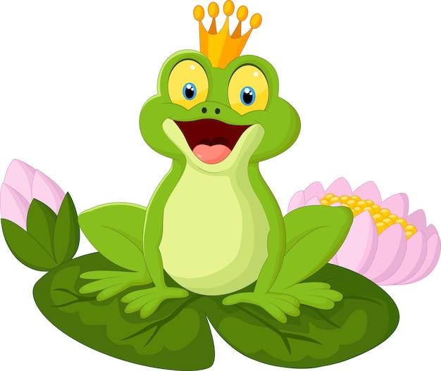 Glücklicher karikaturkönigfrosch