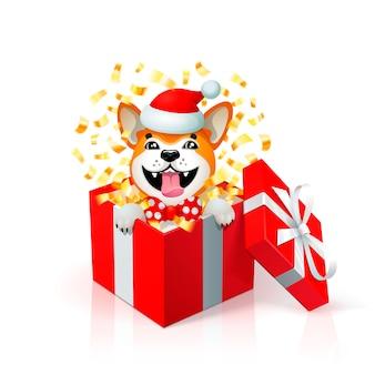 Glücklicher karikaturwelpe in der geschenkbox