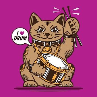Glücklicher katzenschlagzeuger