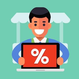 Glücklicher kaufmann mit online-promotion