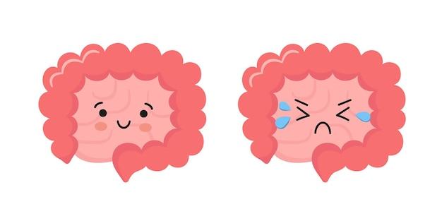 Glücklicher kawaii charakter von dünn- und dickdarm. inneres organ des magen-darm-trakts