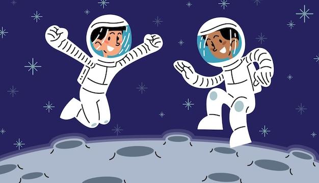 Glücklicher kinderastronaut, der hoch auf der flachen vektorillustration des mondes springt