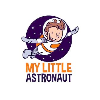 Glücklicher kinderastronaut. mein kleiner astronaut