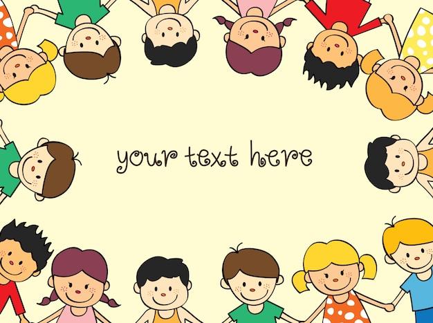Glücklicher kinderrahmen mit raum, zum des textes hinzuzufügen