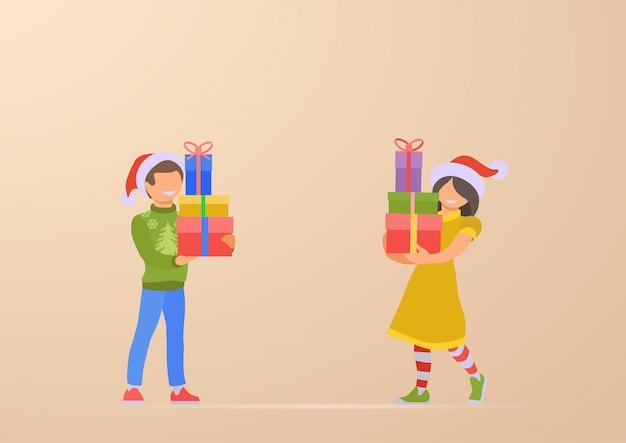 Glücklicher kindersohn und -tochter mit weihnachtsgeschenken in der handillustration