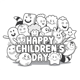 Glücklicher kindertag gekritzel