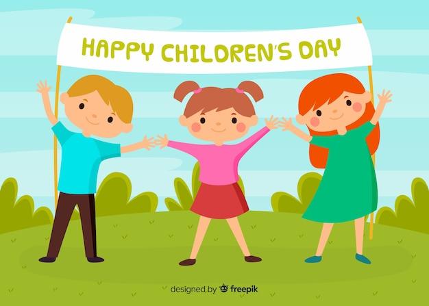 Glücklicher kindertag im flachen design