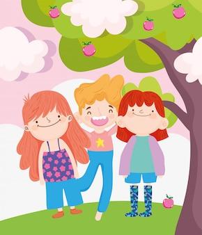 Glücklicher kindertag, kleiner junge und mädchen mit vektorillustration der obstbäume im freien
