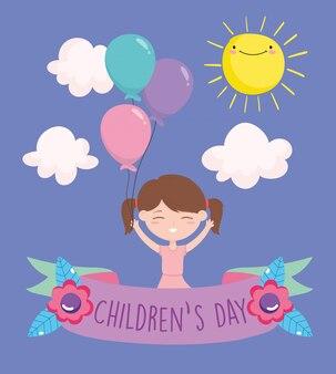 Glücklicher kindertag, kleines mädchen mit ballonfeier-partykarikatur