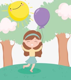 Glücklicher kindertag, kleines mädchen mit ballonfeierbäumen sonnenwolkengraskarikatur