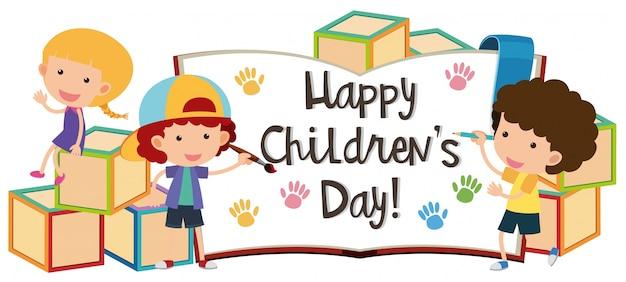 Glücklicher kindertag mit kindern und blöcken