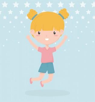Glücklicher kindertag, nettes kleines blondes mädchen mit brötchenhaar-vektorillustration