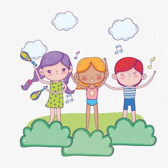 Glücklicher kindertag, niedliche mädchen und jungen singen und musikinstrumente