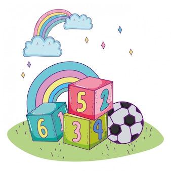 Glücklicher kindertag, zahlenblöcke fußballspielzeugpark