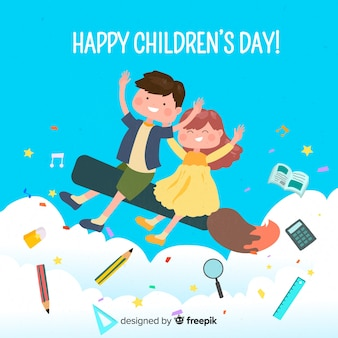 Glücklicher kindertageswunsch auf illustration