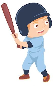 Glücklicher kleiner junge, der baseball spielt