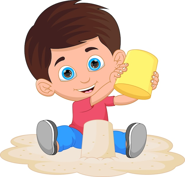 Glücklicher kleiner junge, der sandkarikatur spielt