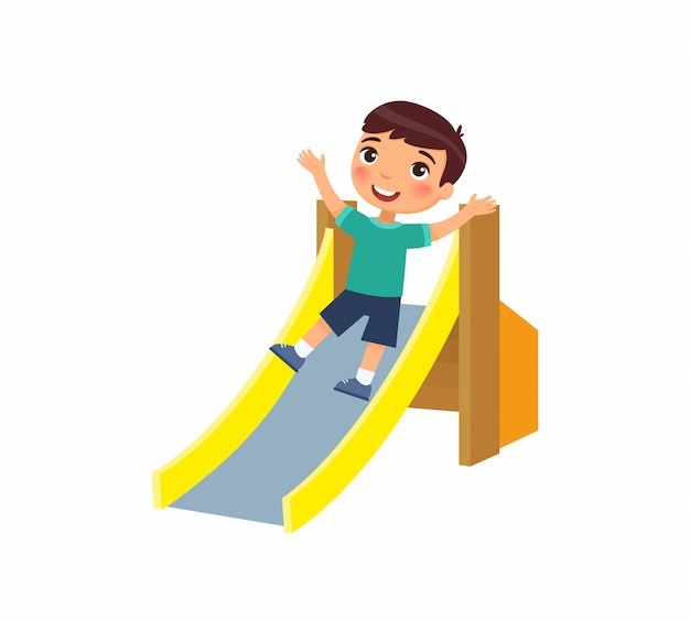 Glücklicher kleiner junge rutscht von einer kinderrutsche ab. freudiges kind, sommerferien. konzept von urlaub und unterhaltung auf dem spielplatz. zeichentrickfigur. flache illustration.