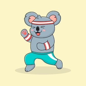 Glücklicher koala beim joggen