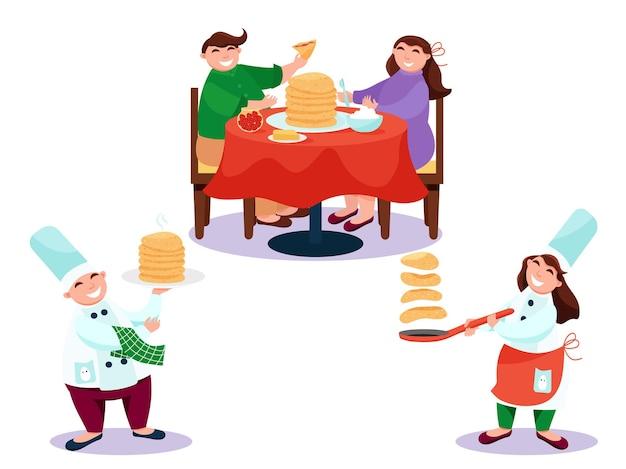 Glücklicher koch, der pfannkuchen kocht und pfannkuchen mit marmelade und sahne isst. vektorillustration, flacher stil