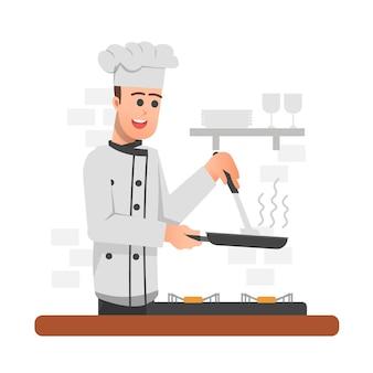 Glücklicher koch kocht etwas