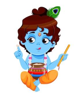 Glücklicher krishna janmashtami kleiner lord krishna sitzt mit flöte und topf