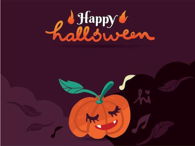 Glücklicher kürbis auf purpurrotem hintergrund für halloween-feiertag