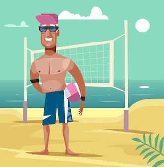 Glücklicher lächelnder alter mann spielen beachvolleyball