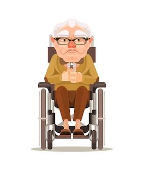 Glücklicher lächelnder alter manncharakter, der im rollstuhl sitzt. karikatur