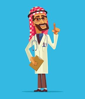 Glücklicher lächelnder arabischer doktormanncharakter. cartoon-illustration