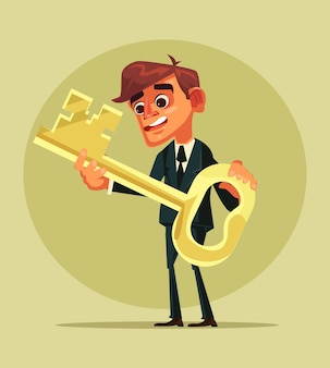 Glücklicher lächelnder büroangestellter-geschäftsmanncharakter halten goldenen schlüssel.