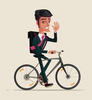 Glücklicher lächelnder büroangestellter-geschäftsmanncharakter im geschäftsanzug, der fahrrad reitet
