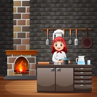 Glücklicher lächelnder chef in der küche, die mahlzeiten vorbereitet