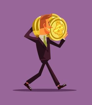 Glücklicher lächelnder erfolgreicher geschäftsmann-büroangestellter-bergmanncharakter, der bitcoins trägt. kryptowährungs-millionär und neues technologiekonzept. flache karikaturillustration